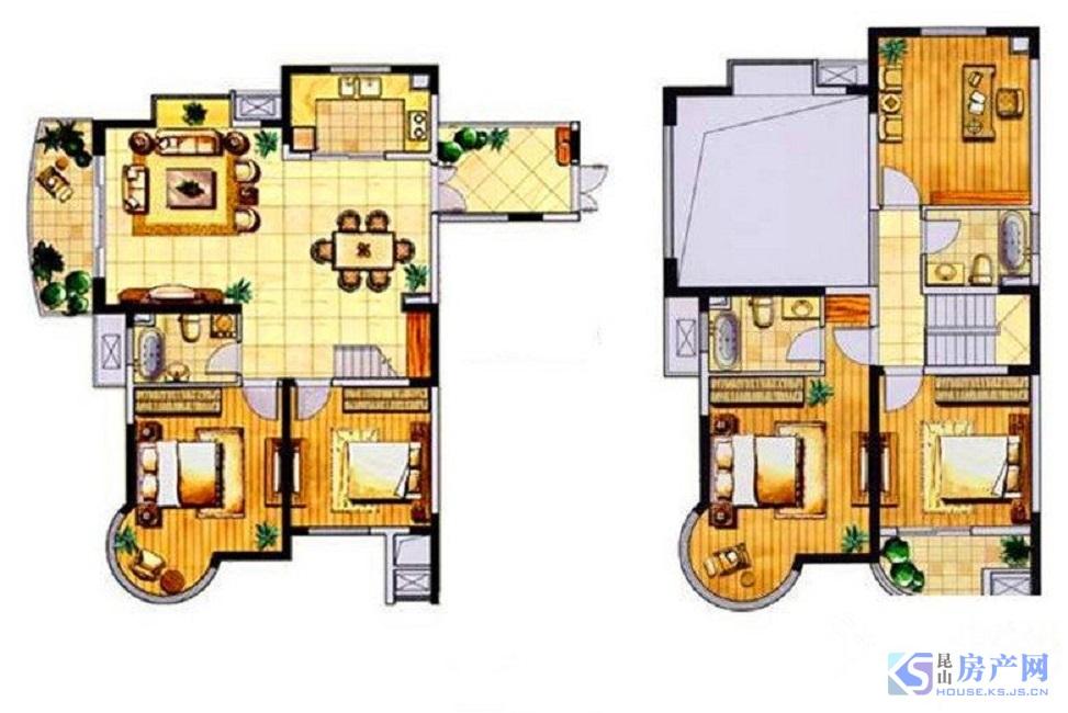 金色森林标准复式楼 可用实小二中学区 满2年税少 大5房可做6房 挑空双层客厅