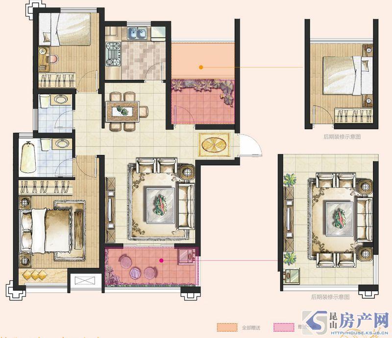 A2型3室2厅2卫约96㎡