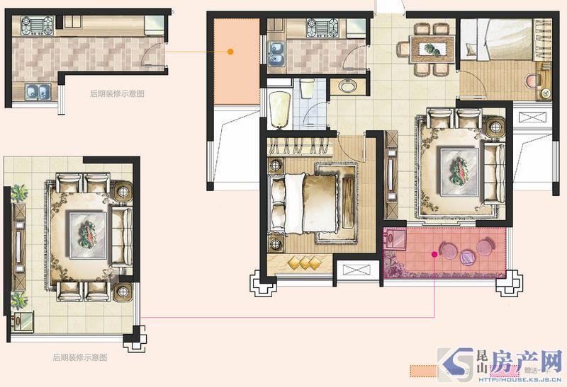B型2室2厅1卫约77㎡